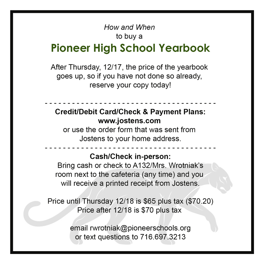 yearbook ordering info