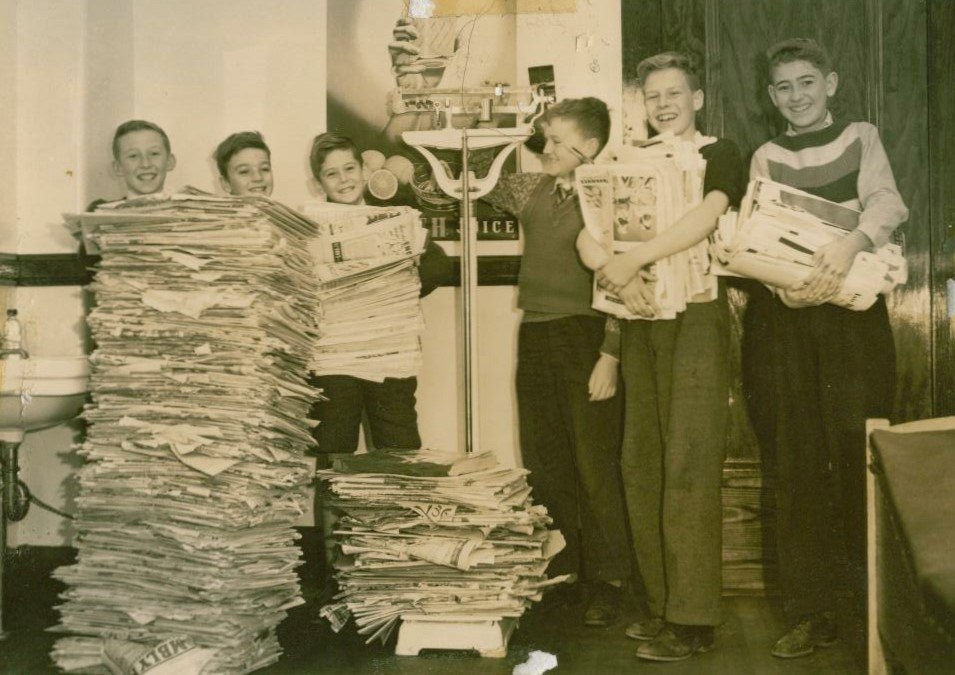 Students participating in the Paper Drive
