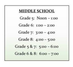 Middle school orientation schedule