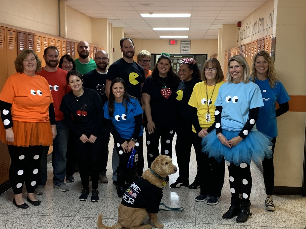 Middle school staff at Halloween